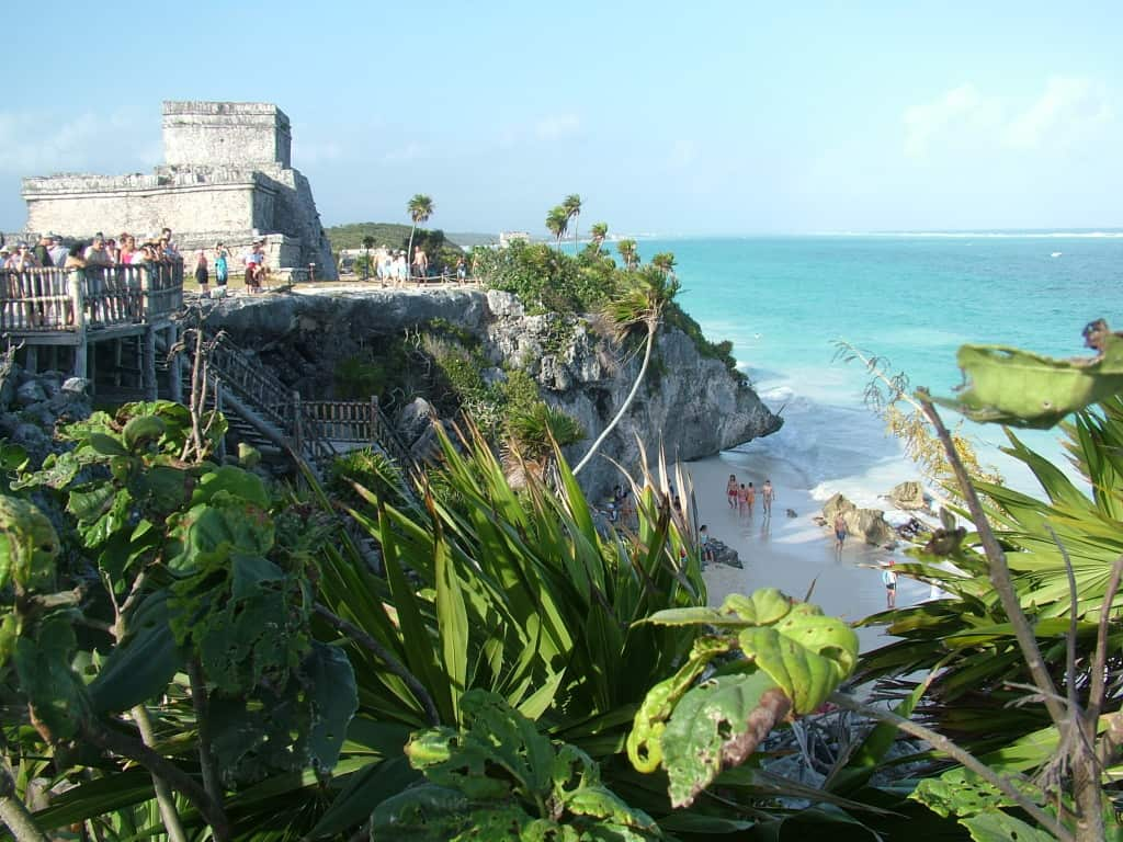 The ruins of Tulum stand sentry over a stunning turquoise beach.