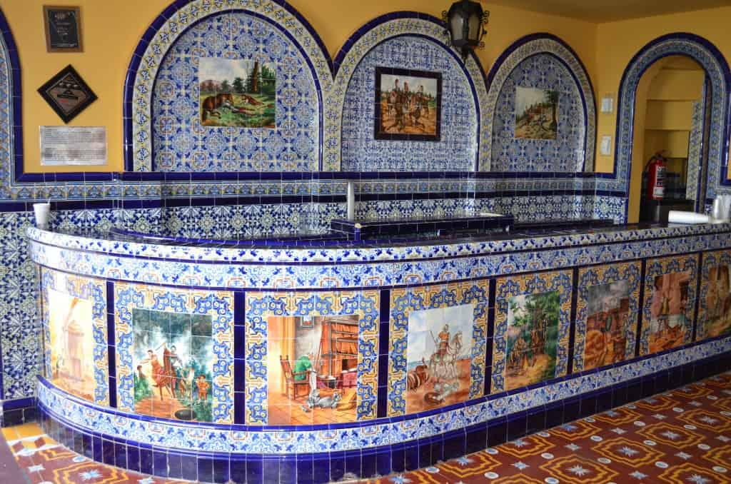 Spa reception area decorated in talavera tile.