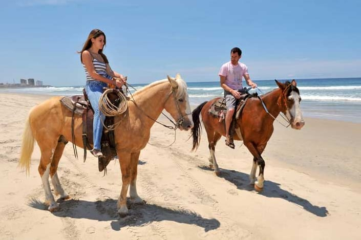 Riding horses on the beach. ©Baja Tourism