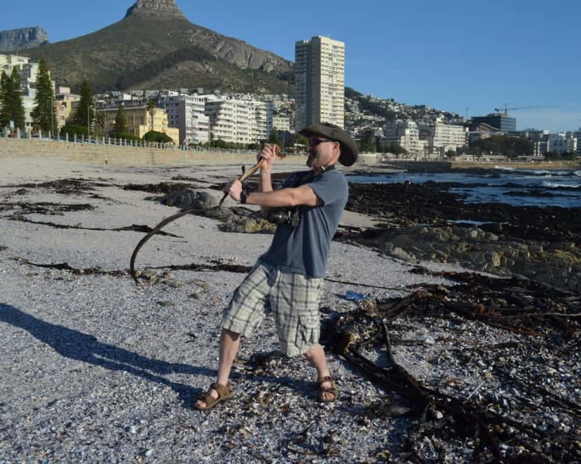 "Steve and his ""snake"" at Sea Point, South Africa"