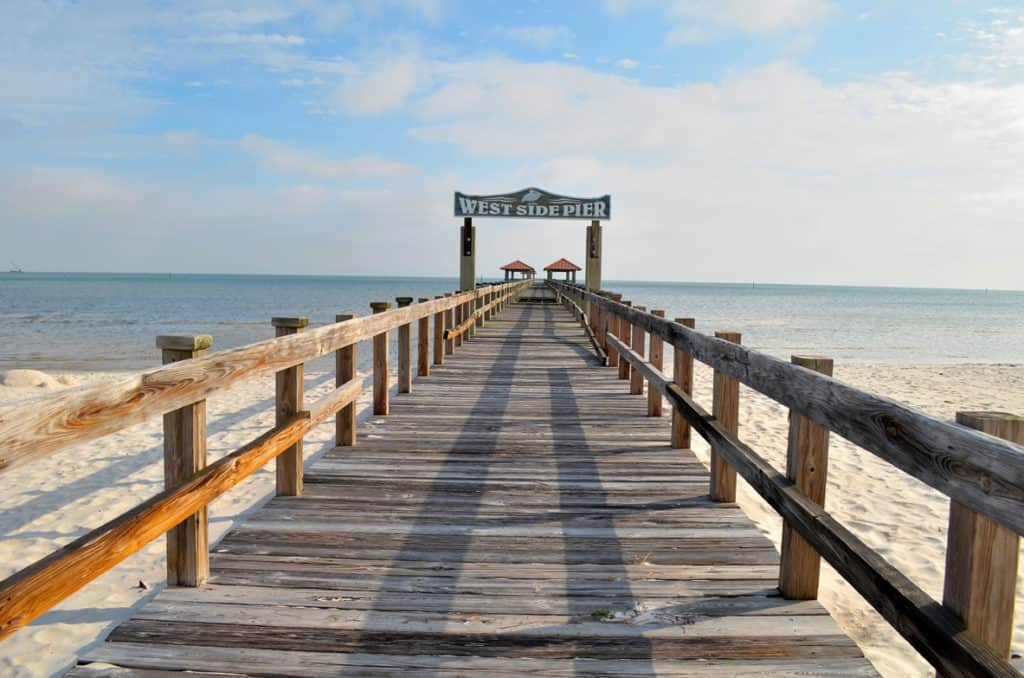 One of the many piers along the highway in Gulfport, Mississippi